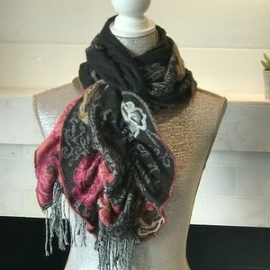 Accessories - Reversible Ruffled Cozy Floral Scarf or Wrap EUC!